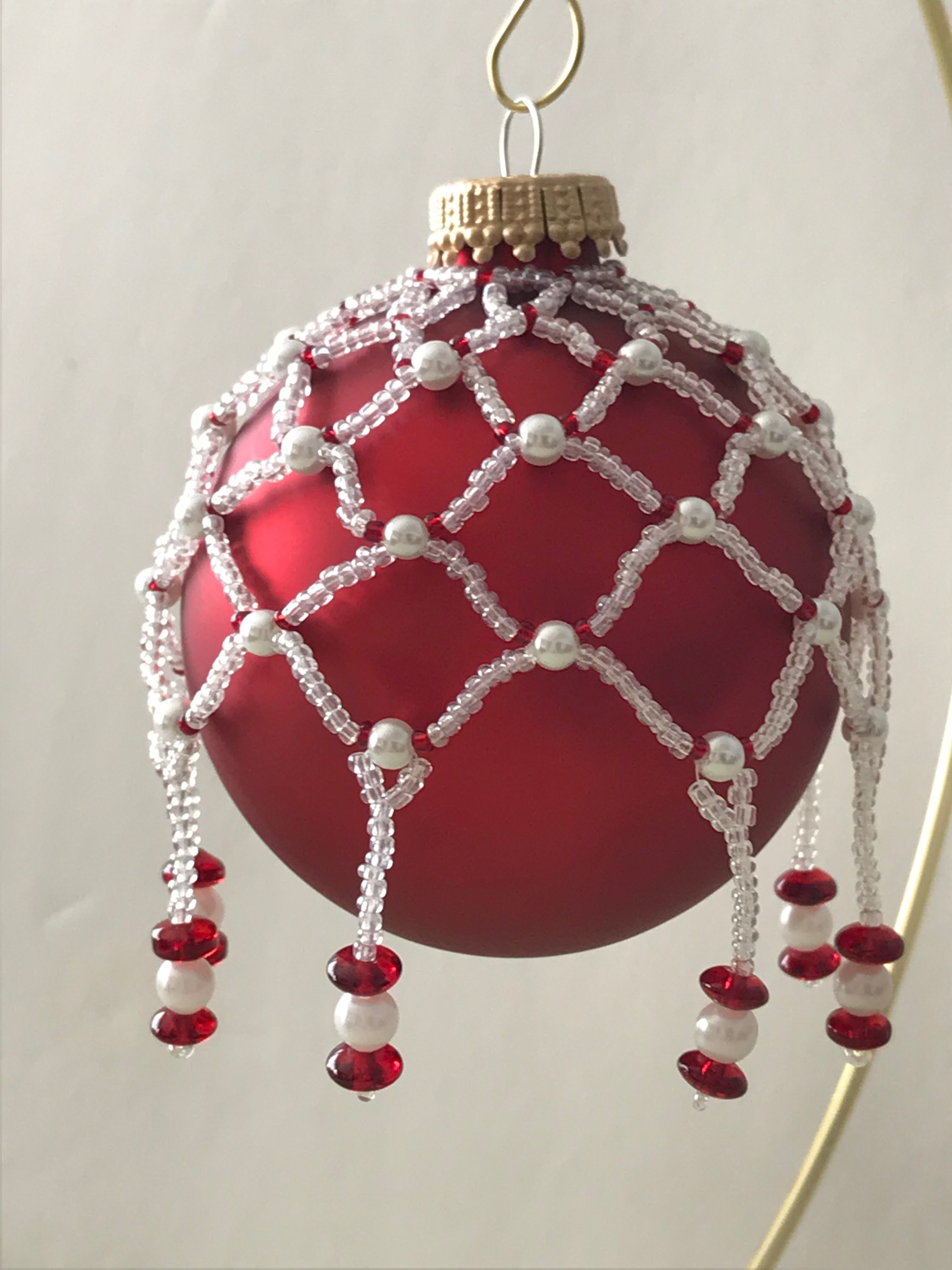 Clear Net With Pearls Beaded Ornaments Beaded Ornament Covers Beaded Christmas Ornaments