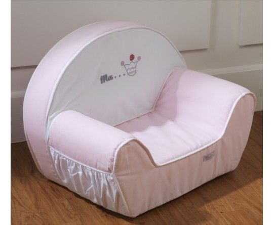 fauteuil pour enfant blanc et rose pale broderie couronne de princesse collection princesse de. Black Bedroom Furniture Sets. Home Design Ideas