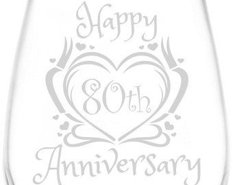 41st - 45th | Heart & Ribbon Happy Anniversary Inspired - Laser Engraved 12.75oz Libbey Wine Taster Glass