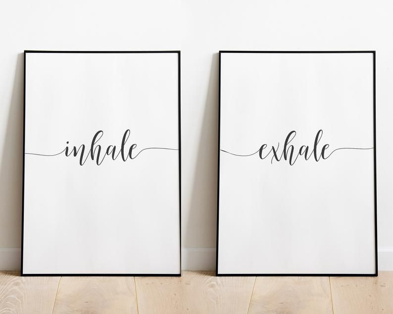Inhale Exhale Print, Digital Download, Bedroom Decor, Bedroom Wall Art, Yoga print, Set of Two Print