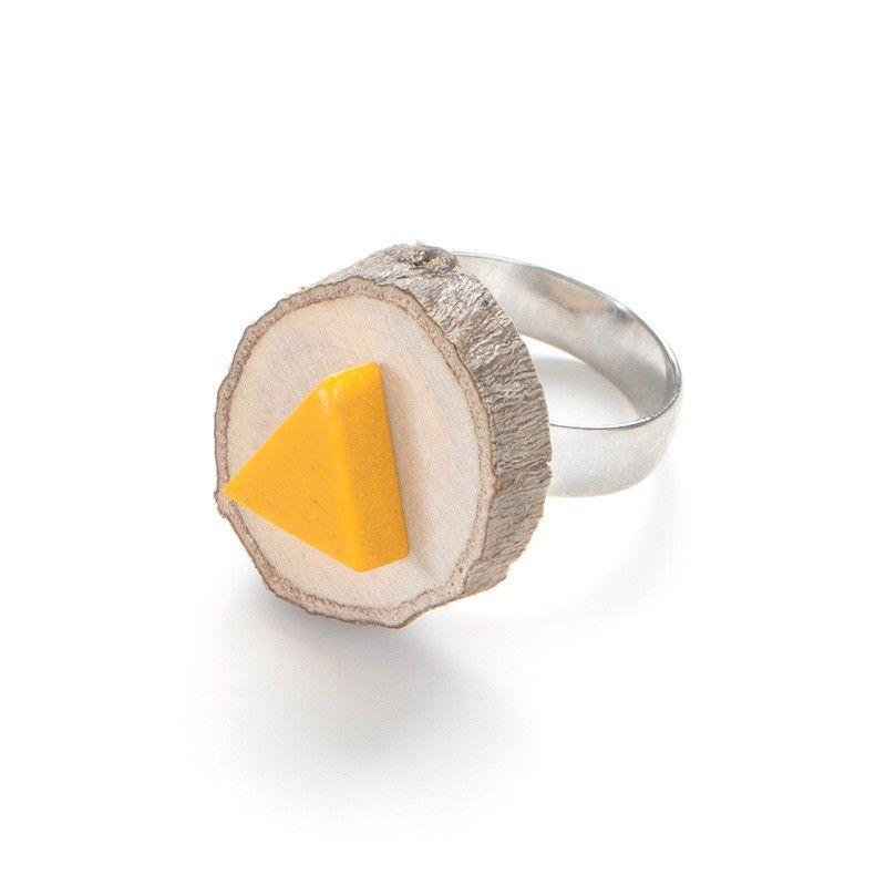 Little Triangle on mini wood stump ring, yellow