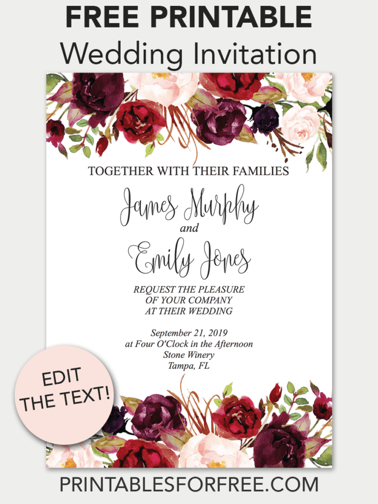 Pin on Invitations - Free Printable Invitation Templates & Wedding