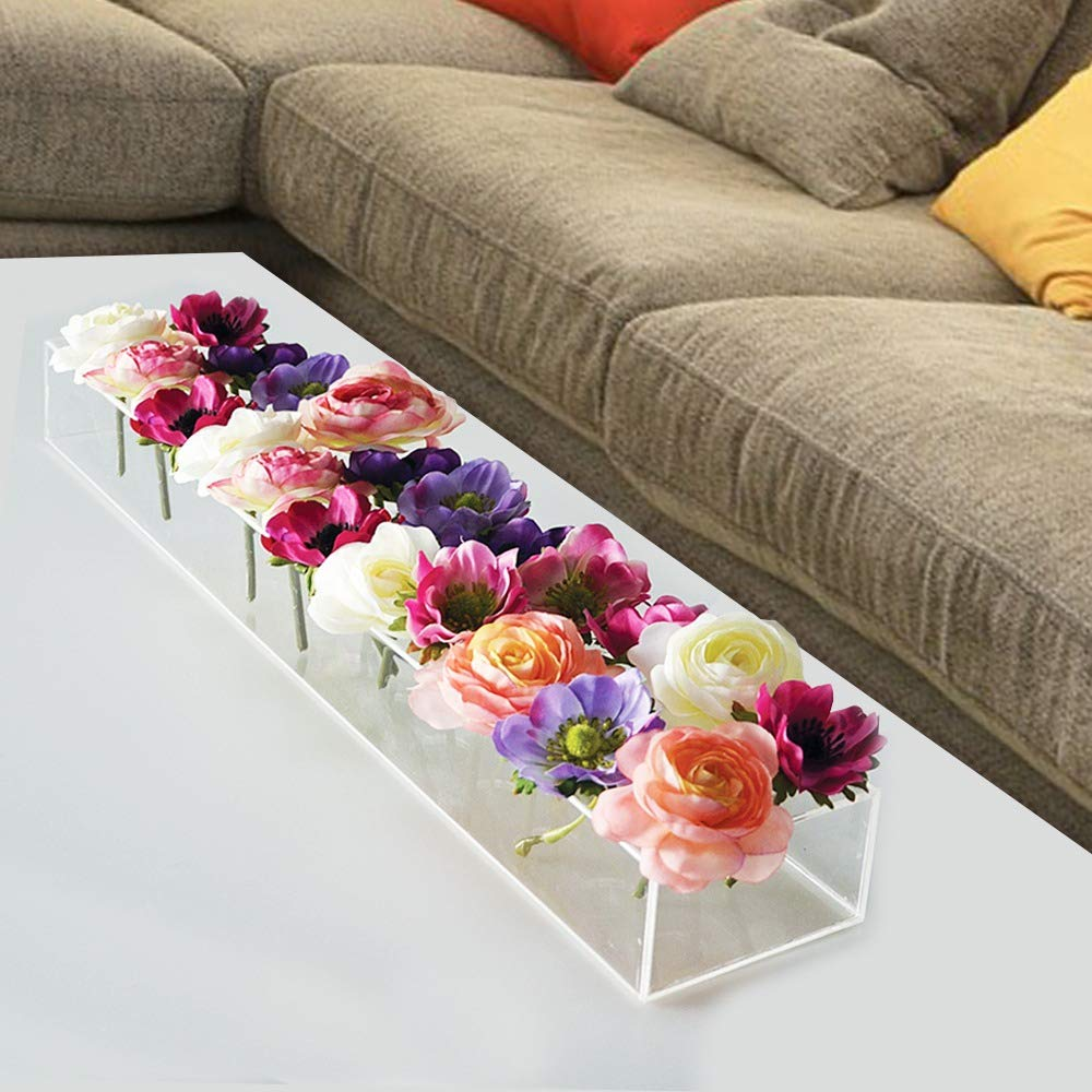 Rectangular Floral Centerpiece For Dining Table 24 Inches Long Rectangular Vase Acr Rectangular Vase Dining Table Centerpiece Vase Centerpieces