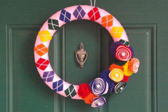 PRIDE Rainbow Argyle Yarn Wreath with Felt by NOLACraftsbyDesign, $35.00