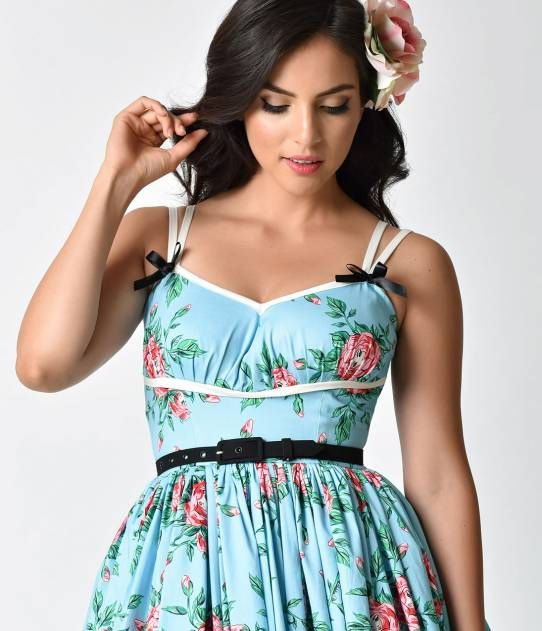 1e3cd9398e7b Micheline Pitt For Unique Vintage Light Blue Budding Beauties Alice Swing  Dress