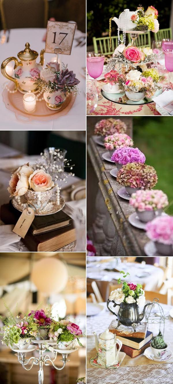 50 creative ideas to add vintage charm to your wedding decorations vintage teacup and teapot wedding decoration ideas junglespirit Image collections