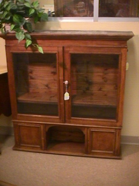 106 Antique Oak Glass Door Jelly Cabinet Top On Cabinets