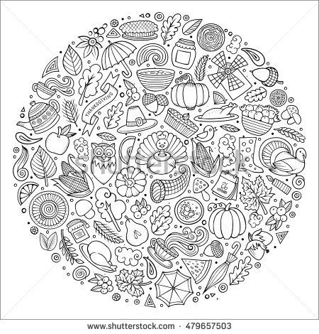 Line Art Vector Hand Drawn Set Of Thanksgiving Cartoon Doodle Objects Symbols And Items Round Composition