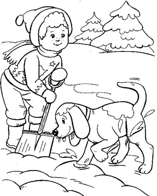 Boy And Dog Playing Snow Winter Coloring Page Coloring Pages Coloring Pages Winter Sports Coloring Pages