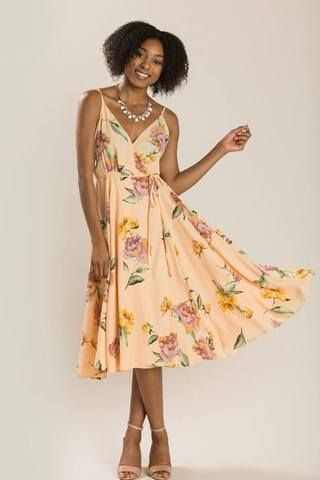 0f645f75356 Penelope Peach Floral Wrap Dress