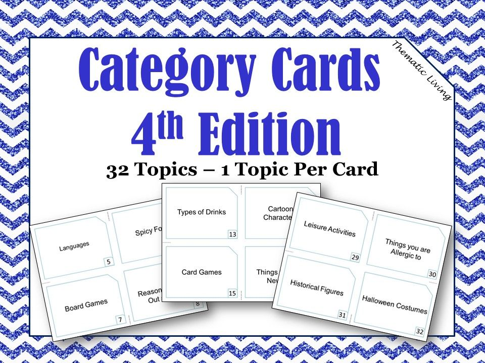 Category Cards 4th Edition Cards, Card games, Bingo cards