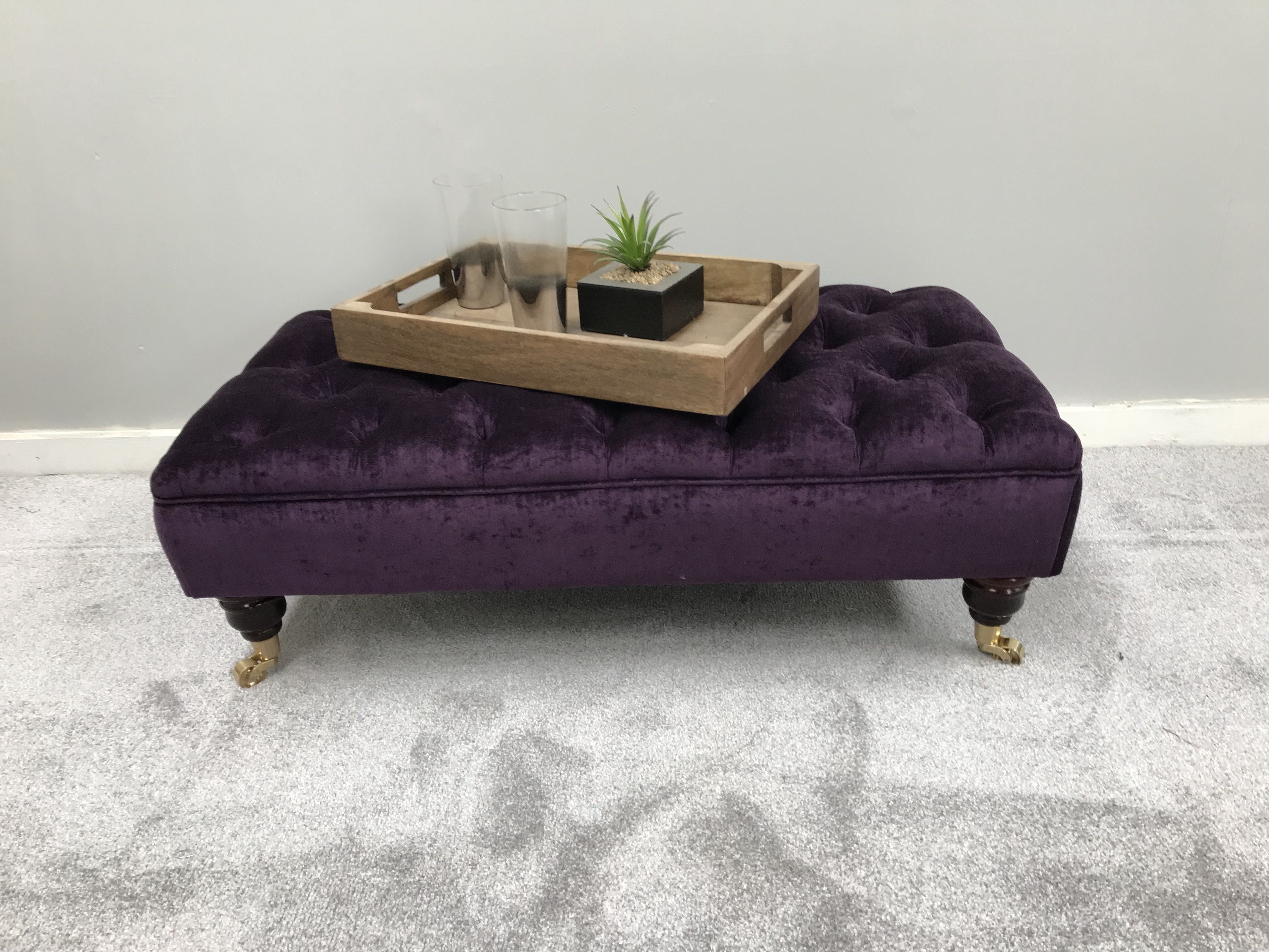 Large Chesterfield Ottoman Purple Bespoke Deep Oned
