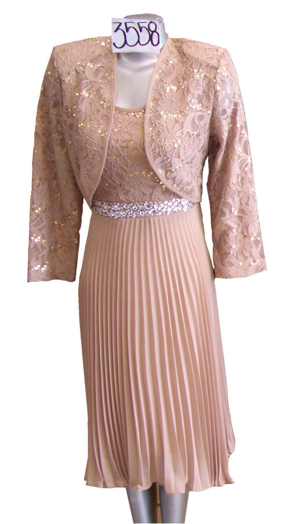 Semi formal wedding guest dresses  Knee Length Khaki Semi Formal Dress Pleated Skirt Lace Jacket