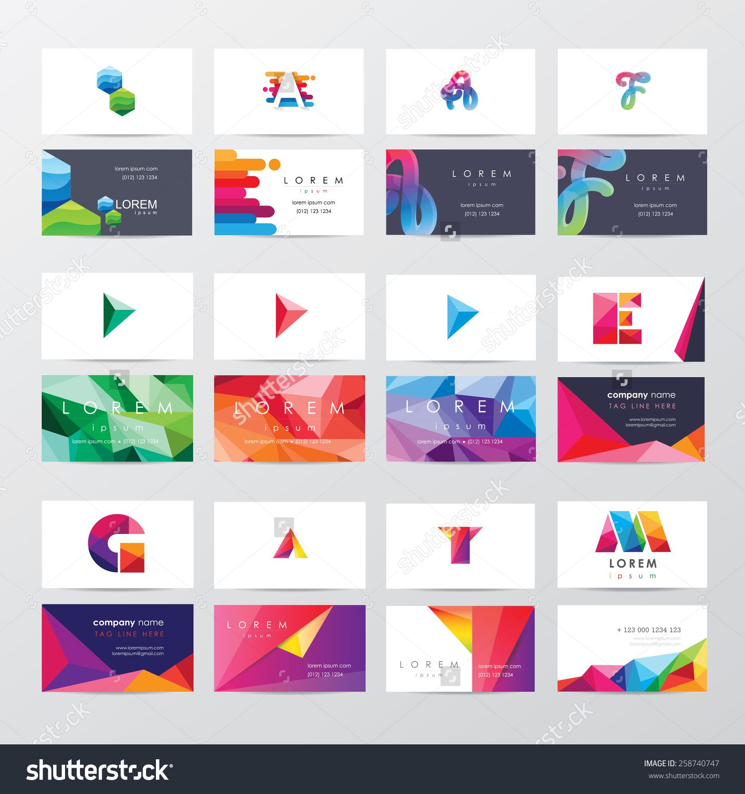 large collection of colorful business card template designs with ...