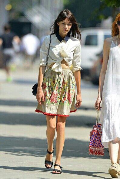 Chung part, skirt, button down, sandals