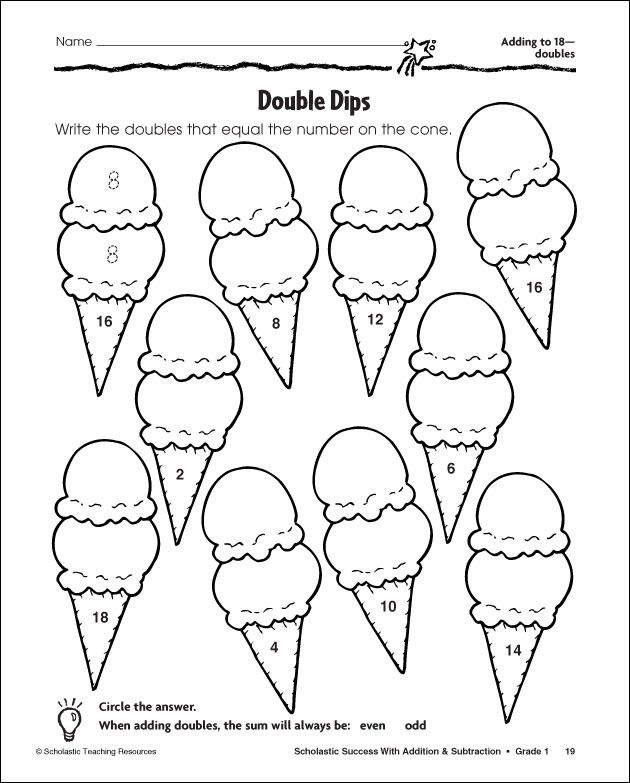 near doubles colouring pages Math Math doubles, First