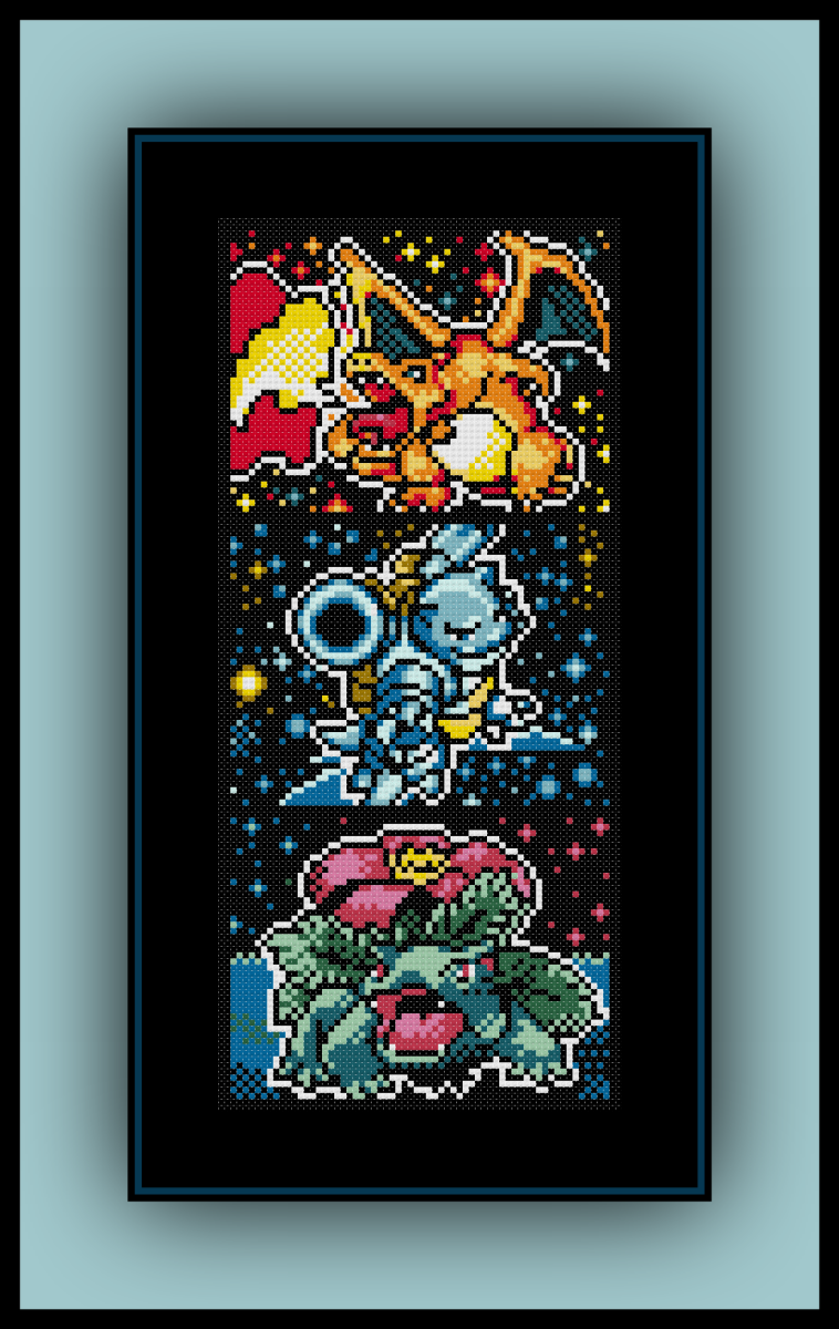 Photo of Free Kanto Starters Cross Stitch Pattern Charizard, Blastoise, and Venusaur