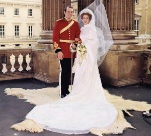 Princess Ann (daughter of Queen Elizabeth and Prince Phillip) married Captain Mark Phillips in 1973.  She wore an embroidered Tudor-style wedding dress with a high collar and mediaeval sleeves designed by Maureen Baker of Susan Small.