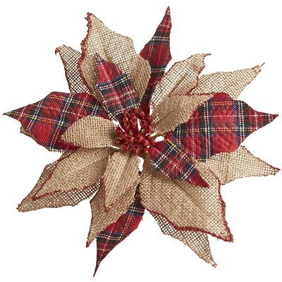 Photo of Burlap & Plaid Poinsettia Clip Ornament