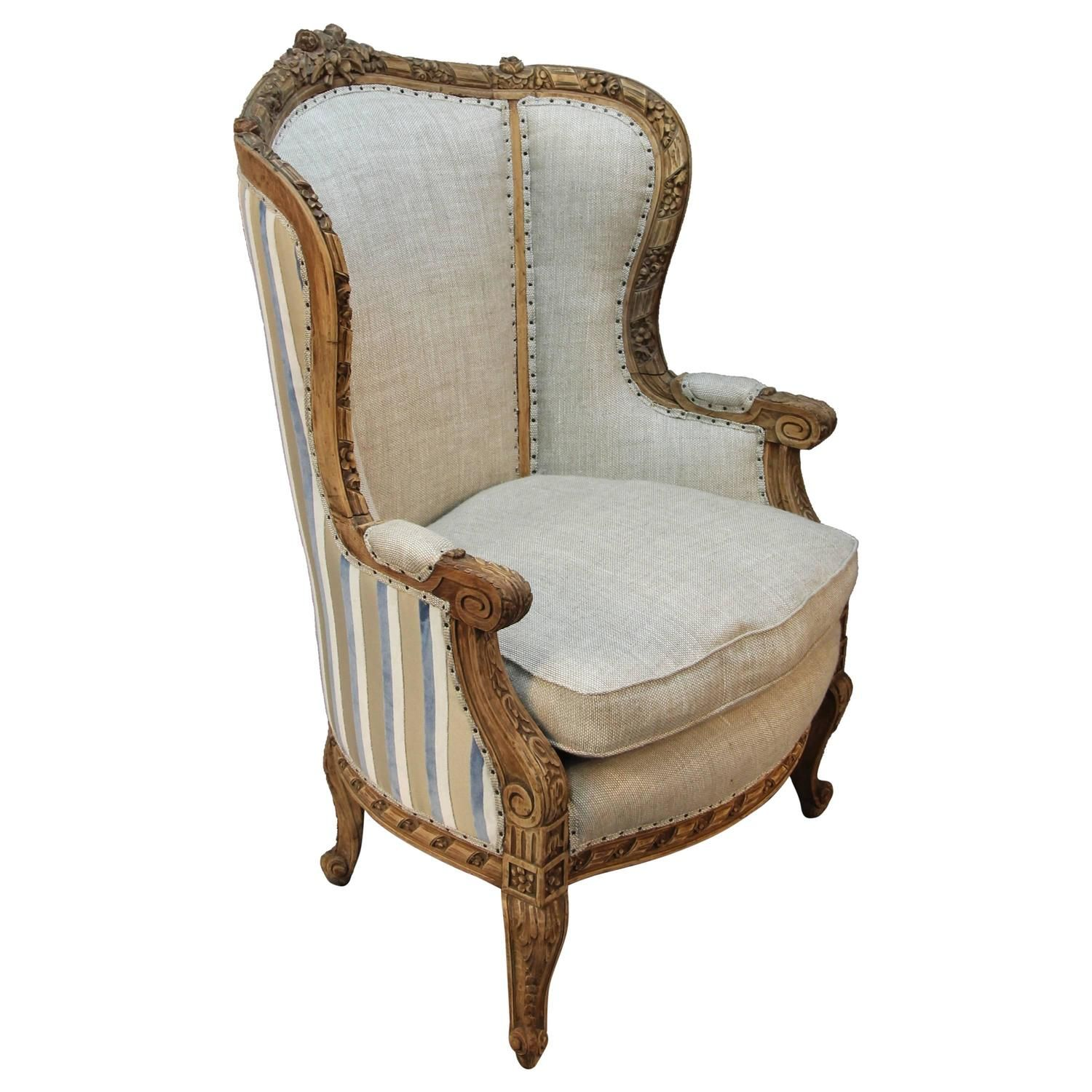 Modern savonarola chair - French Louis Xv Style Carved Wingback Bergere Armchair Circa 1900s