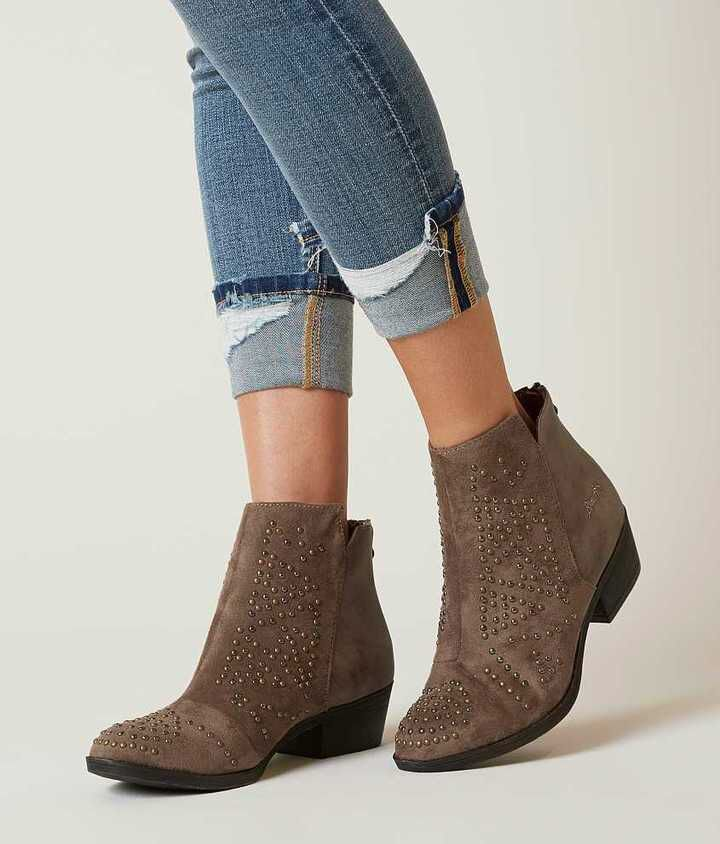 Womens Ladies Strap Faux Suede Pixie Low Heel Mid Calf Casual Boots Shoes Size -8 BJ_7562