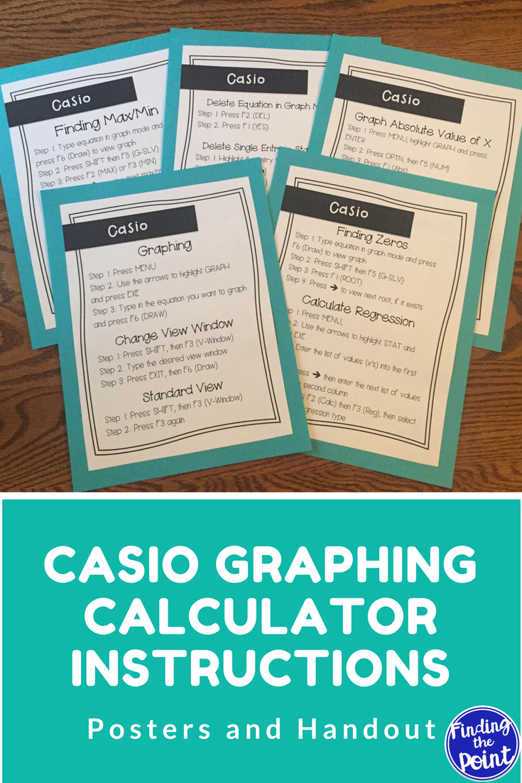 Casio Graphing Calculator Instructions Posters and Handout (Casio FX ...