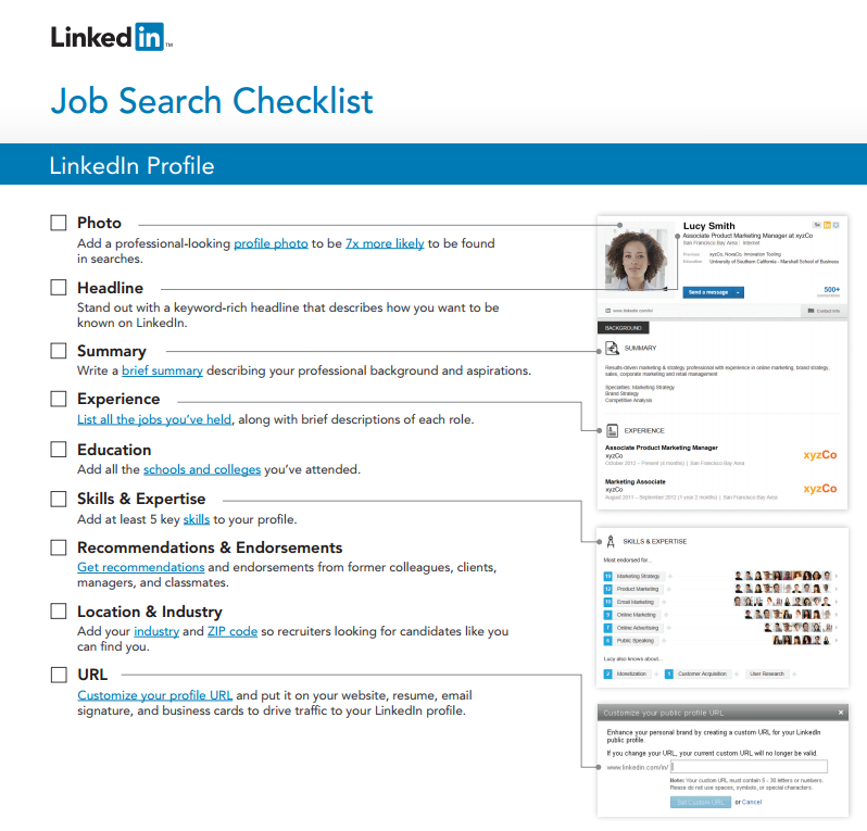 LinkedIn\'s Job Search Checklist A pdf including live links to ...