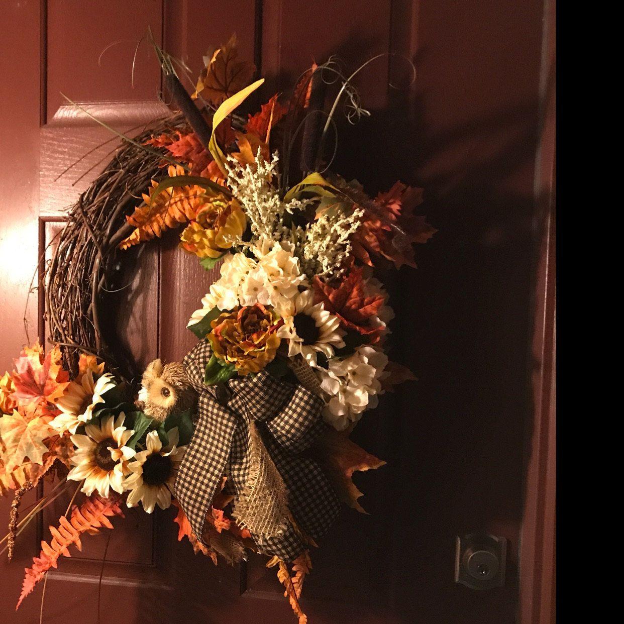 Fall wreaths for front door with Owl, Autumn Sunflower Door Decor, Rustic Farmhouse Fall wreath, Fal #doubledoorwreaths