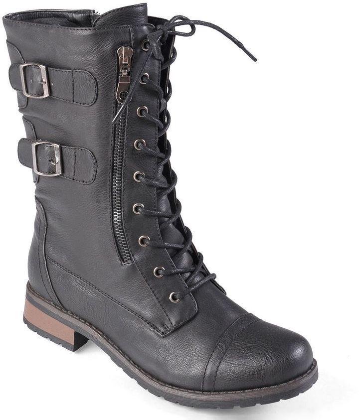 Black Combat Cute Girl Boot