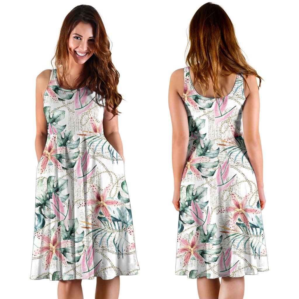 Hawaii Tropical Pattern With Orchids, Leaves And Gold Chains. Midi Dress J71 #tropicalpattern