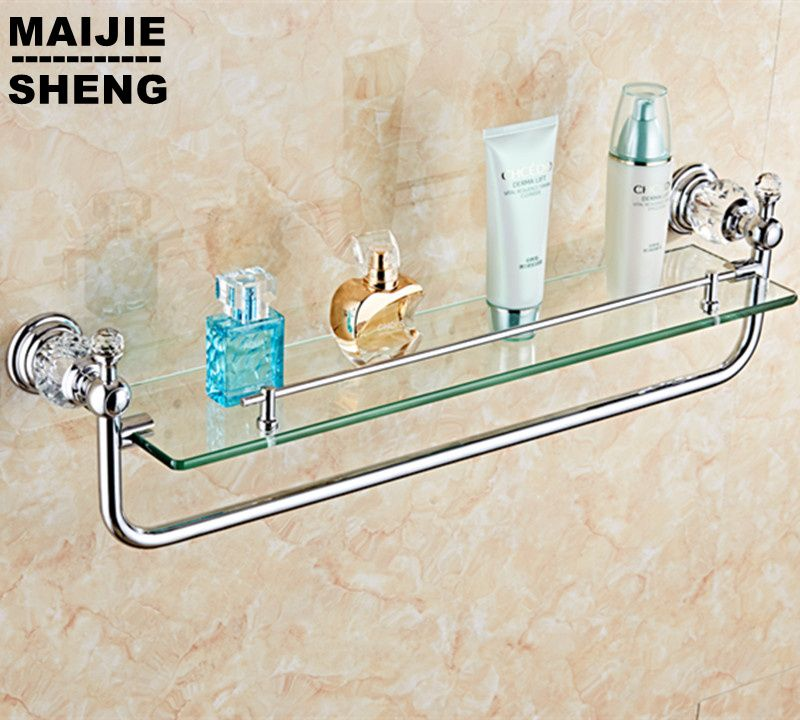 chrome crystal Bathroom single layer shower glass shelf bath shower ...