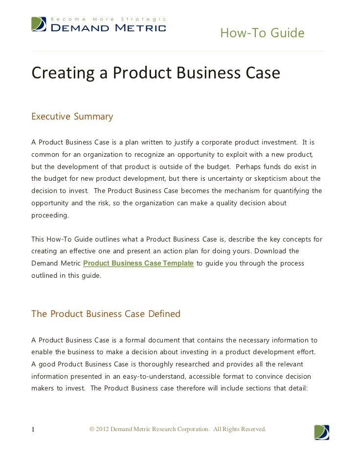 How to guide creating a product business case by demand metric how to guide creating a product business case by demand metric via slideshare accmission Image collections