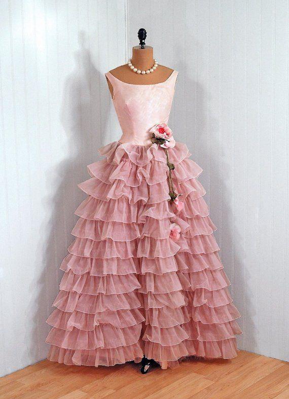 1950\'s Fred Piccione Pink Chiffon Tiered Ruffles Prom Dress | It\'s ...