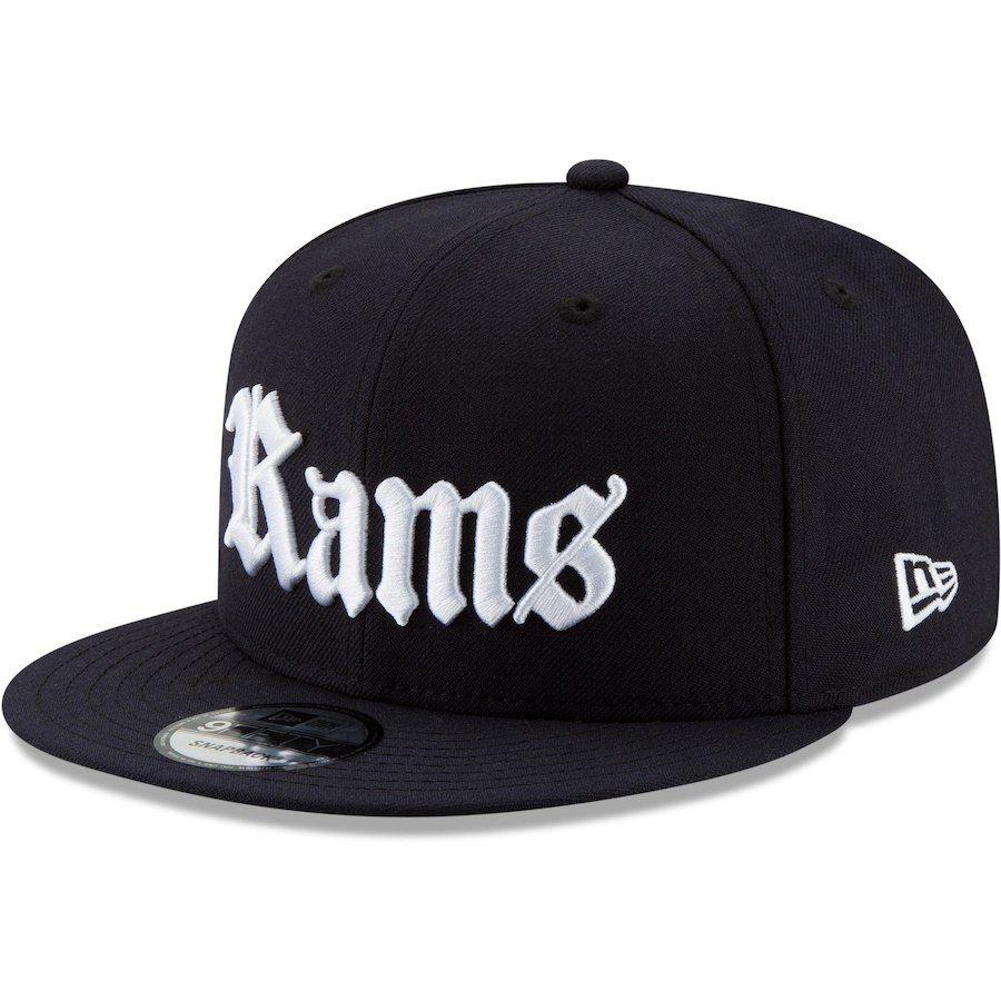 best website 2674c 2fafd Men s Los Angeles Rams New Era Navy Gothic Script 9FIFTY Adjustable  Snapback Hat, Your Price