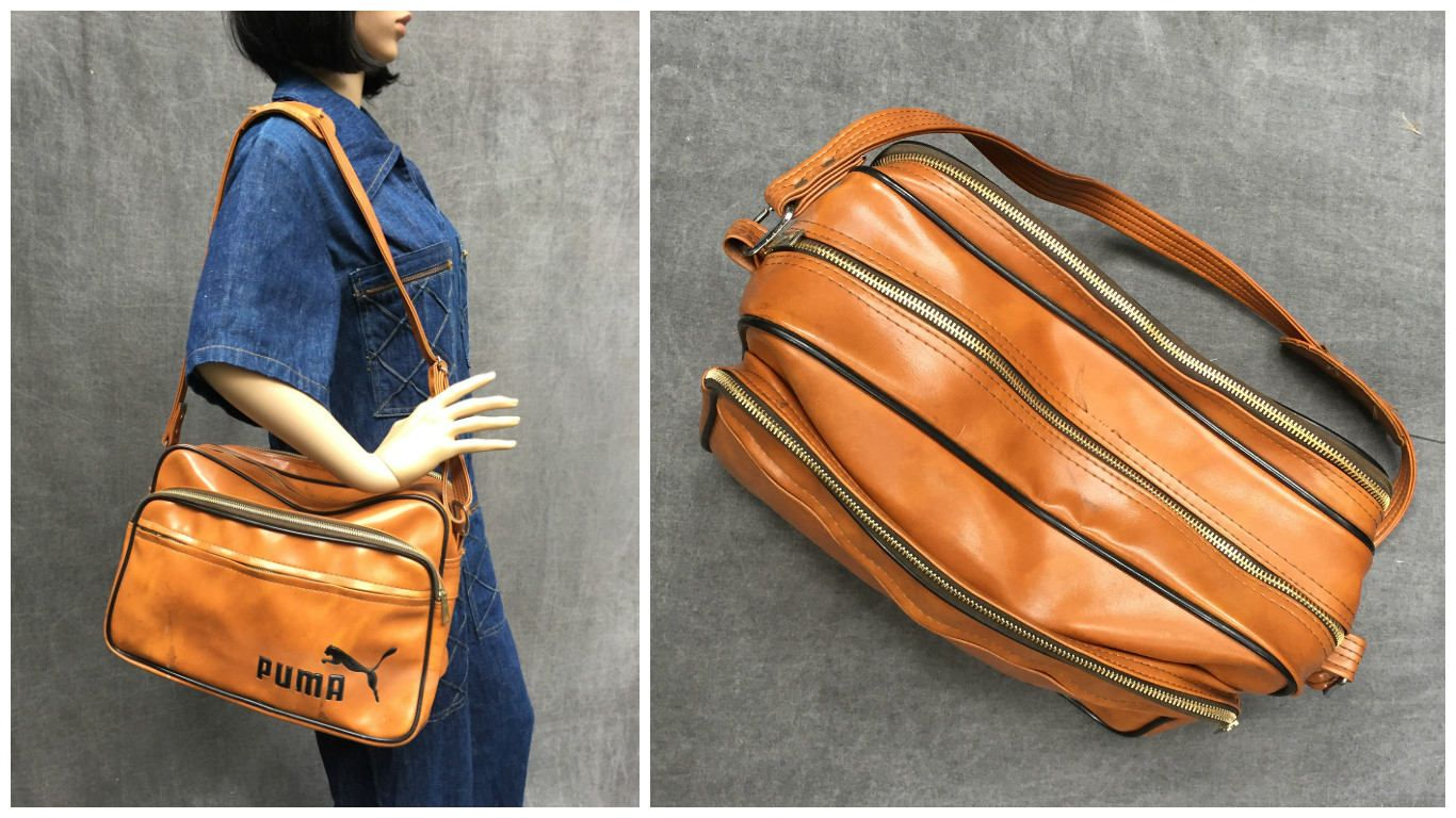 1724811eae2 Vintage Puma Bag Vinyl Travel Bag with Shoulder Strap and Multiple Zip  Pockets by ElkHugsVintage on Etsy