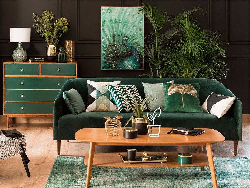 Une Collection Deco En Vert Et Noir D Co Living Room Green