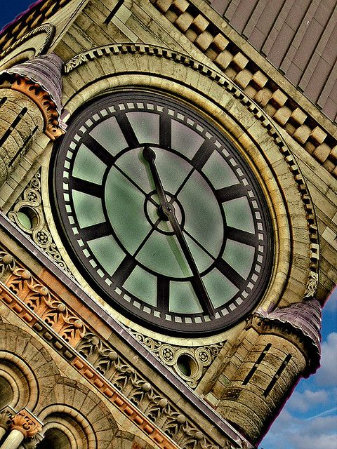 the clock of the Old City Hall in downtown Toronto.