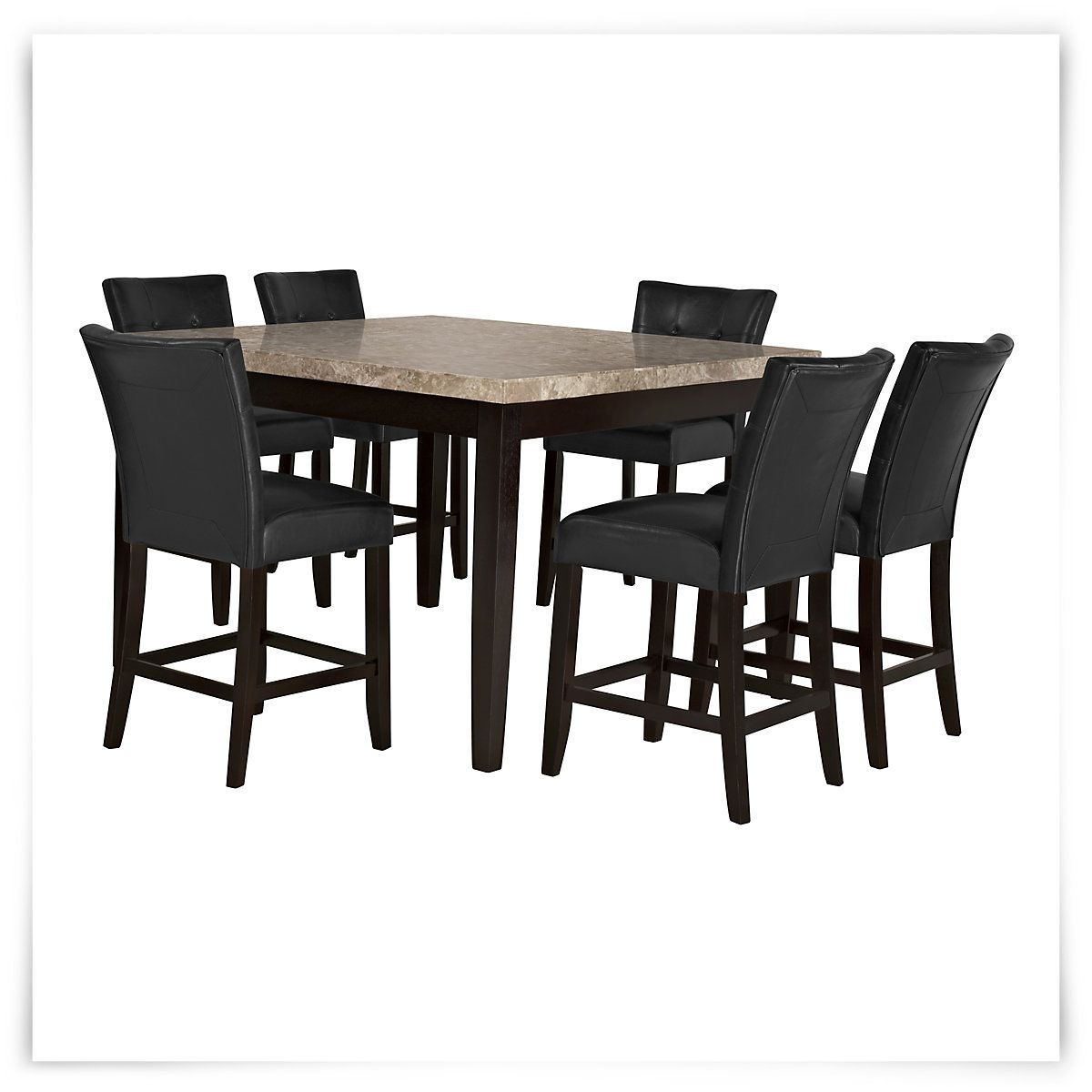 Monark Square Marble High Table 4 Upholstered Barstools High Dining Table Dining Table Marble Marble Dining Table Set