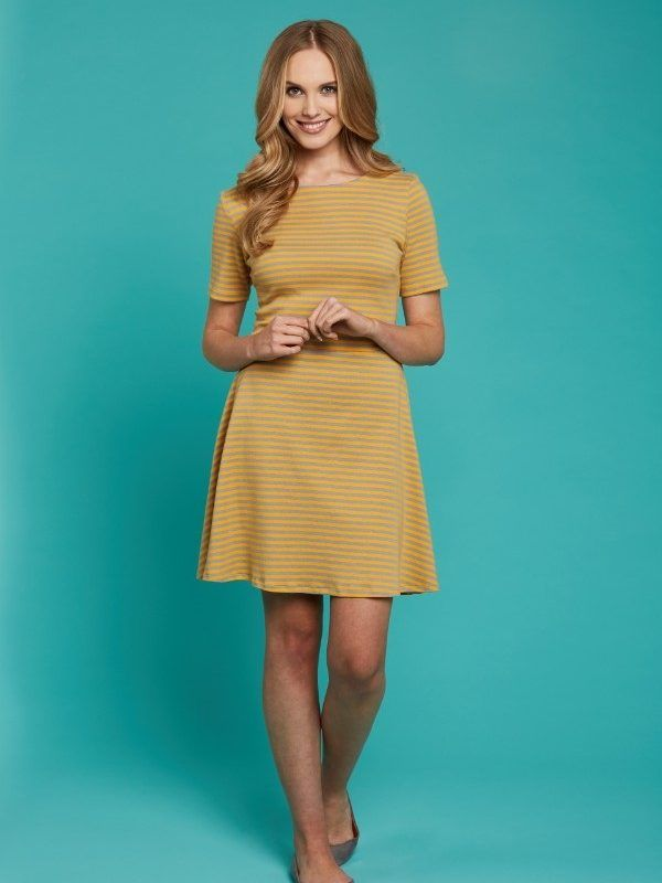 Free PDF pattern LS37 Kiki fit and flare jersey dress | Free dress ...