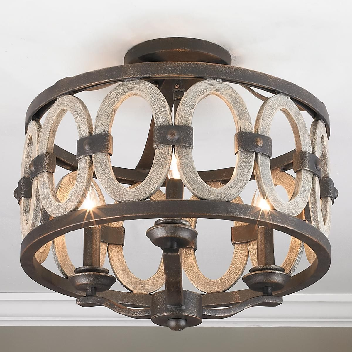 Driftwood entwined ovals ceiling light with images