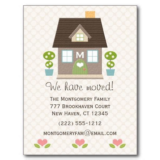 monogrammed home moving announcement postcard in 2018 exceptional