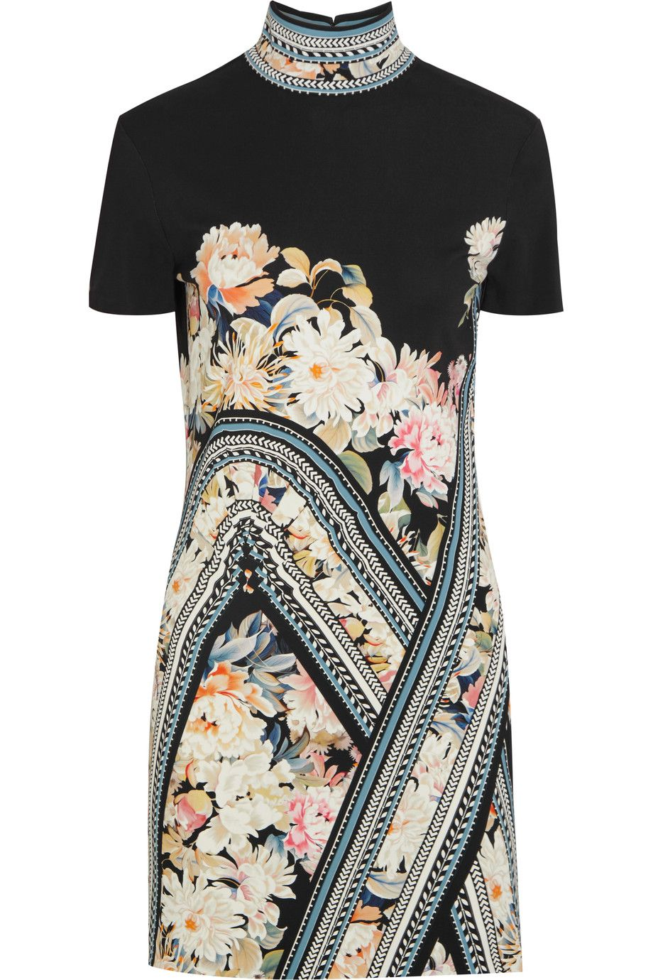ROBERTO CAVALLI Floral-Print Stretch-Crepe Mini Dress. #robertocavalli #cloth #dress