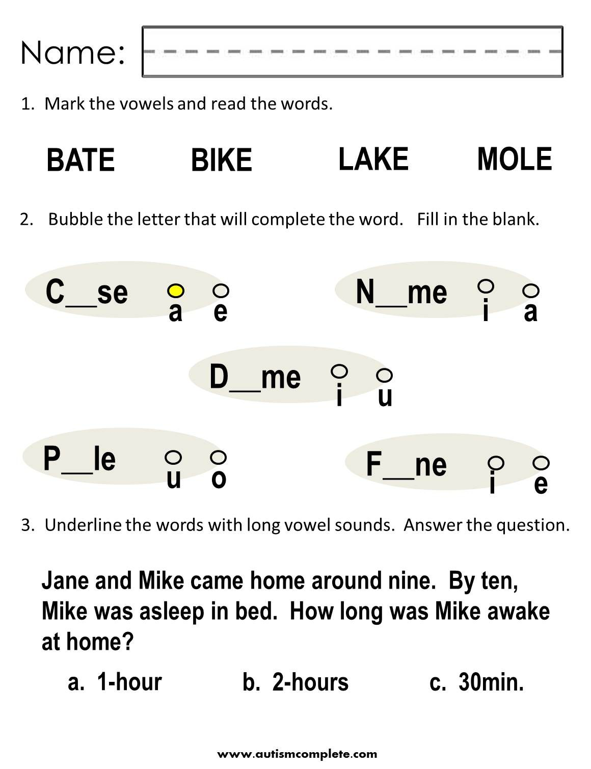 Teach Long Vowel Sounds With These Great Worksheets