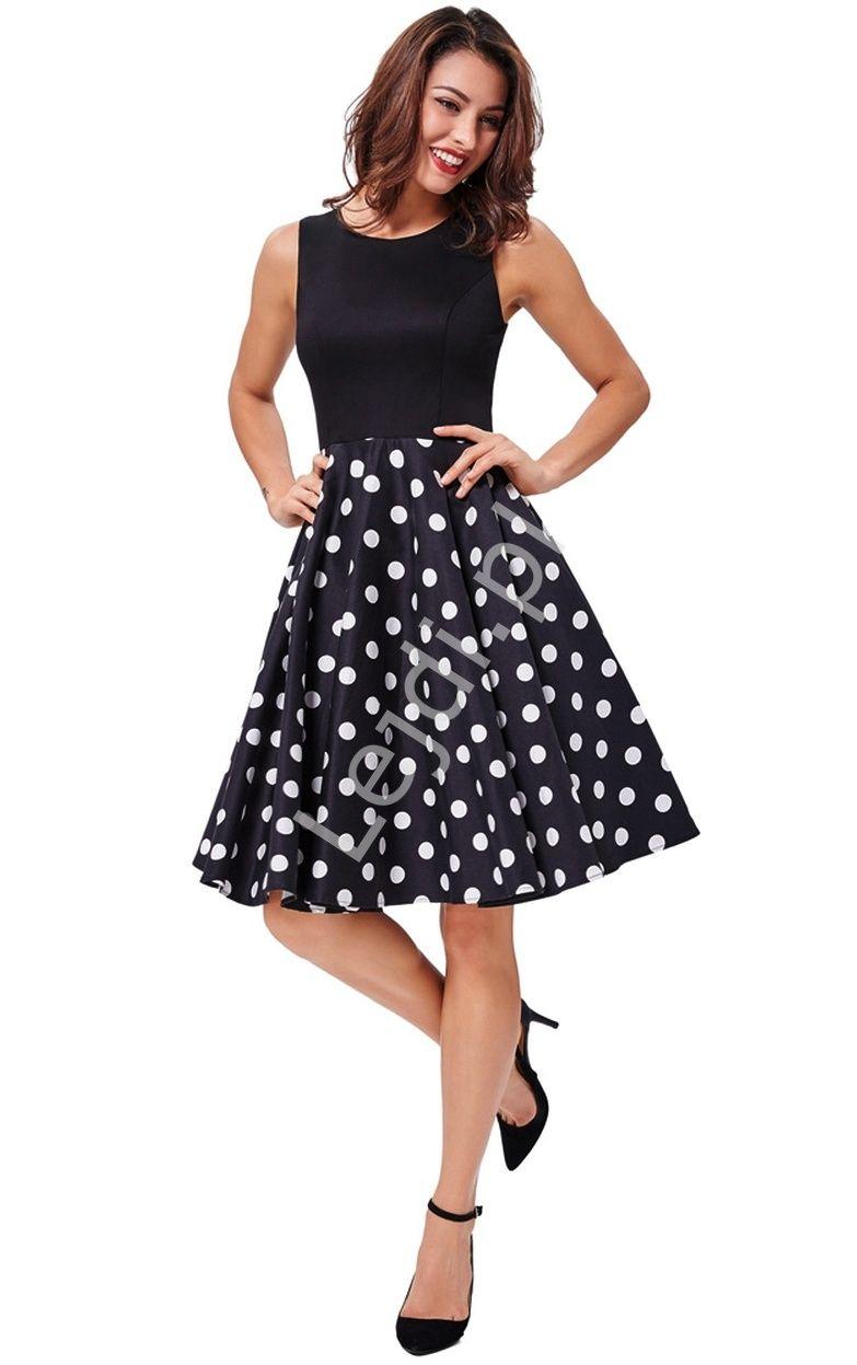 c16c549dd5 Sukienka rozkloszowana w kolorze czarnym z dołem w białe duże grochy w stylu  pin up.