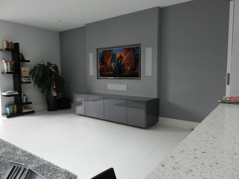 In Wall Speakers Home Theater media room with 3d tv and surround sound, in-wall and in-ceiling