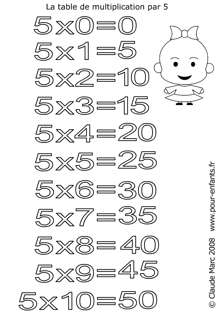 Coloriage table de multiplication par 5 imprimer les for Les multiplications
