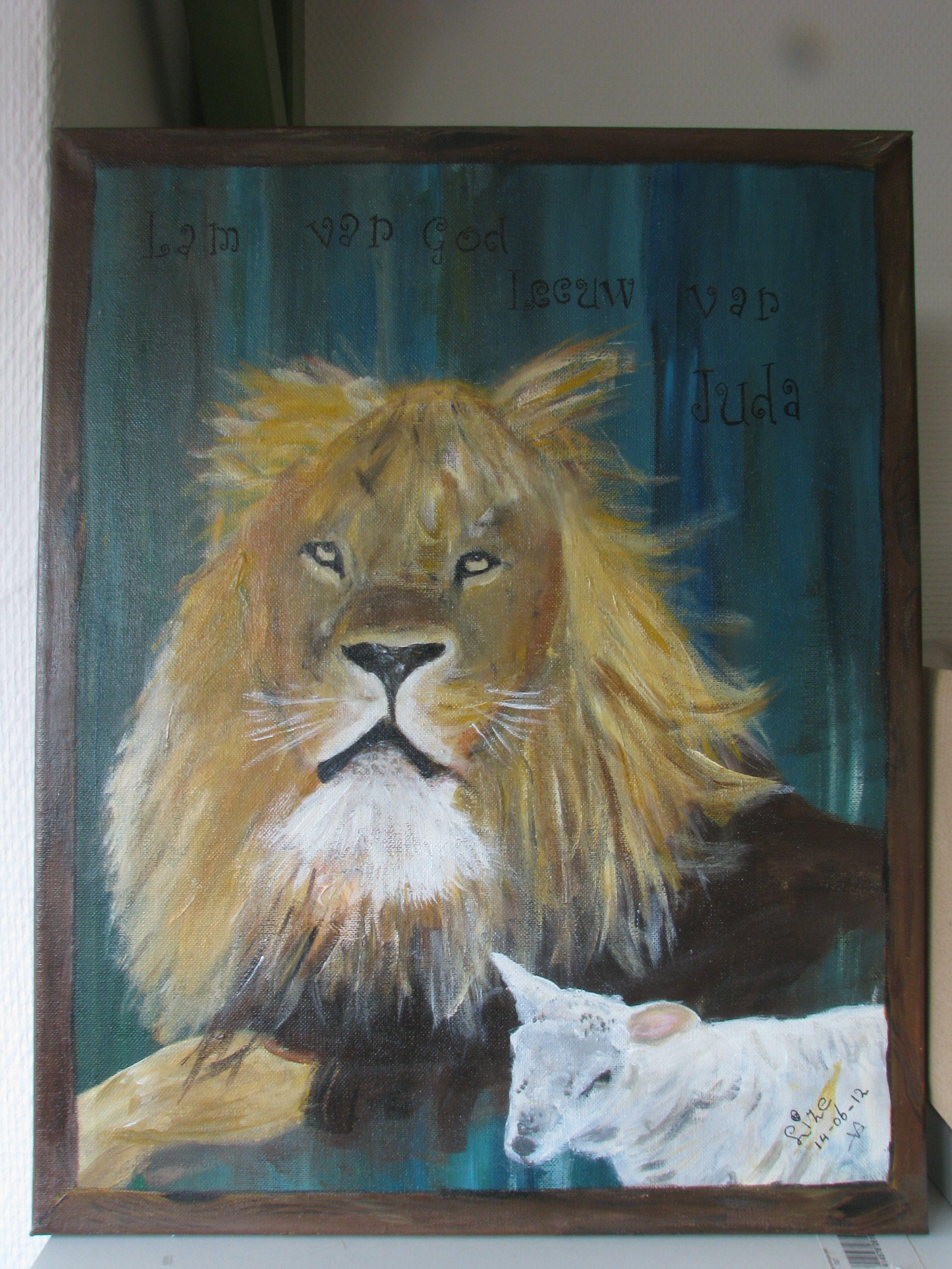 lam en leeuw leeuwen schilderij lam