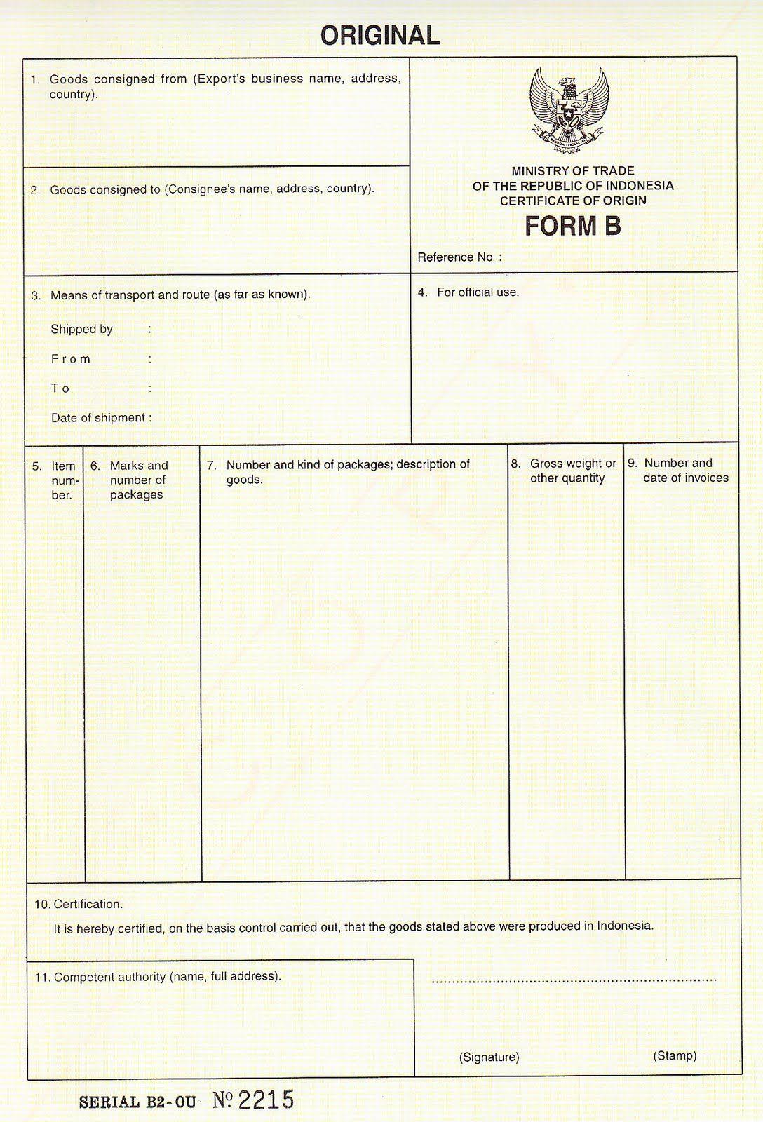 Hasil Gambar Untuk Form B Certificate Of Origin Indonesia  Doc