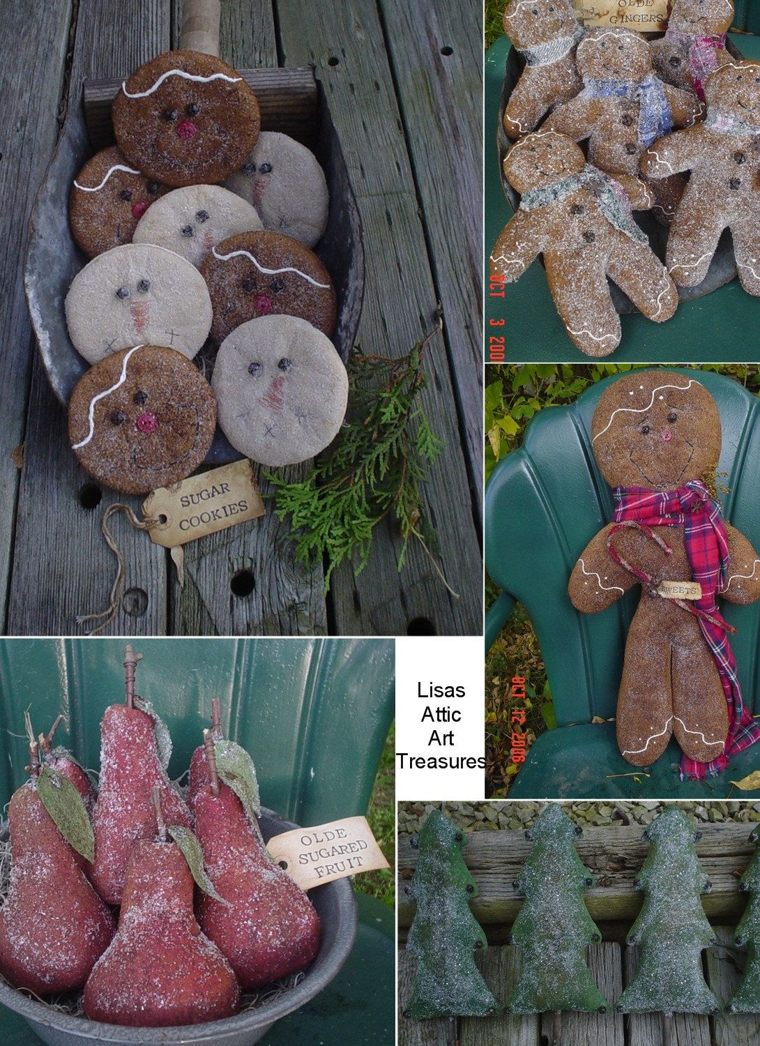 Snowman+Gingerbread+Man+Christmas+Trees+and+Pears+by+lisasatticart,+$8.00