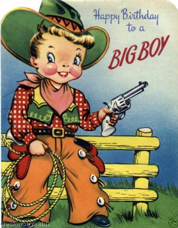 Vintage Magnet Happy Birthday Cowboy Kids  V26  ef85e6035009